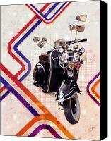 Bike Canvas Prints - Vespa Mod Scooter Canvas Print by Michael Tompsett