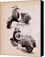 Bike Canvas Prints - Vespa Scooter 1969 Canvas Print by Michael Tompsett