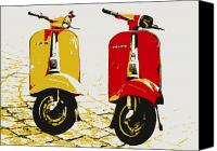 Modern Digital Art Canvas Prints - Vespa Scooter Pop Art Canvas Print by Michael Tompsett