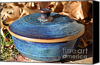 Ceramic Ceramics Canvas Prints - Vessel with Lid No.2 Canvas Print by Christine Belt