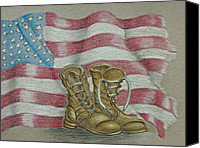 Army Pastels Canvas Prints - Veteran Day Canvas Print by Thuraya R