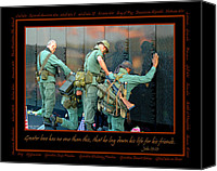 Patriotism Photo Canvas Prints - Veterans at Vietnam Wall Canvas Print by Carolyn Marshall