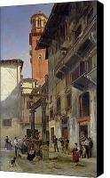 Balconies Canvas Prints - Via Mazzanti in Verona Canvas Print by Jacques Carabain