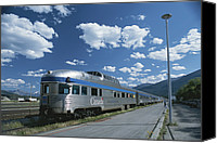 Rail Vehicles Canvas Prints - Via Rail Canada Train Waiting At Jasper Canvas Print by Todd Gipstein