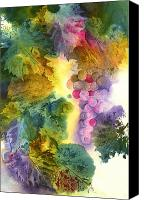 Wine Art Canvas Prints - Vibrant Grapes Canvas Print by Gladys Folkers