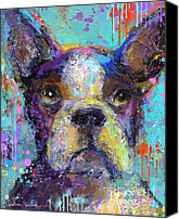 Impressionistic Art Canvas Prints - Vibrant Whimsical Boston Terrier Puppy dog painting Canvas Print by Svetlana Novikova