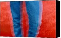 Chromatic Contrasts Canvas Prints - Vibrating Blue Jeans Against A Red Canvas Print by Raymond Gehman