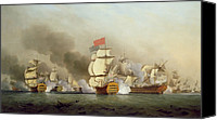 Engagement Canvas Prints - Vice Admiral Sir George Ansons Canvas Print by Samuel Scott
