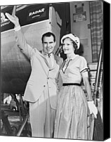 First Ladies Canvas Prints - Vice President Richard Nixon, With Wife Canvas Print by Everett