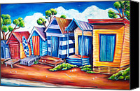 Change Painting Canvas Prints - Victorian Beach Huts Canvas Print by Deb Broughton