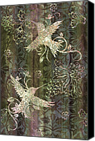 Women Canvas Prints - Victorian Hummingbird Green Canvas Print by JQ Licensing