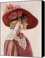 Hat Canvas Prints - Victorian Lady in a Rose Hat Canvas Print by Sue Halstenberg