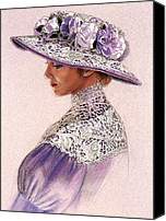 Lavender Pastels Canvas Prints - Victorian Lady in Lavender Lace Canvas Print by Sue Halstenberg