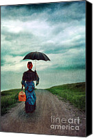 Raining Canvas Prints - Victorian Lady with Umbrella and suitcase Canvas Print by Jill Battaglia