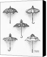 Antique Drawings Canvas Prints - Victorian Parasols Canvas Print by Adam Zebediah Joseph