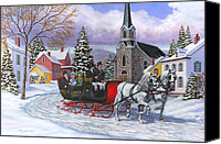 Merry Christmas Canvas Prints - Victorian Sleigh Ride Canvas Print by Richard De Wolfe