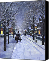Horse Carriage Canvas Prints - Victorian Snow Canvas Print by Alecia Underhill