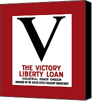 Veteran Canvas Prints - Victory Liberty Loan Industrial Honor Emblem Canvas Print by War Is Hell Store
