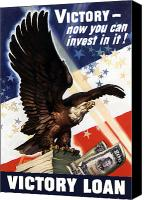 World War I Digital Art Canvas Prints - Victory Loan Bald Eagle Canvas Print by War Is Hell Store