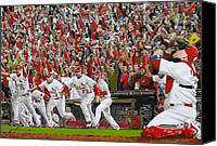 Major League Baseball Painting Canvas Prints - VICTORY - St Louis Cardinals win the World Series Title - Friday Oct 28th 2011 Canvas Print by Dan Haraga