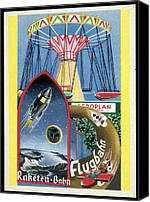 Viennese Canvas Prints - Viennese Fun Fair, Historical Post Card Canvas Print by Detlev Van Ravenswaay