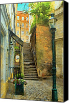 Viennese Canvas Prints - Viennese Side Street Canvas Print by Jeff Kolker