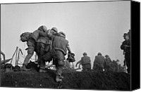 Foreign Wars Canvas Prints - Vietnam War. A Us Marine Is Helped Canvas Print by Everett