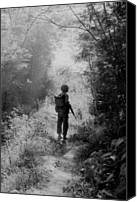 Foreign Wars Canvas Prints - Vietnam War. A Us Marine Walking Point Canvas Print by Everett