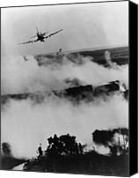 Foreign Wars Canvas Prints - Vietnam War Bombing. Two Bombs Fall Canvas Print by Everett