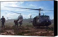 Vietnam Canvas Prints - Vietnam War, Uh-1d Helicopters Airlift Canvas Print by Everett