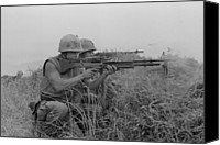 Foreign Wars Canvas Prints - Vietnam War. Us Marine Machine Gunner Canvas Print by Everett