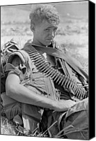 Foreign Wars Canvas Prints - Vietnam War. Us Marine Takes A Break Canvas Print by Everett