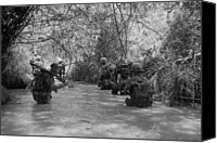 Foreign Wars Canvas Prints - Vietnam War. Us Marines Move Canvas Print by Everett