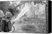 Foreign Wars Canvas Prints - Vietnam War. Us Marines Set Fire Canvas Print by Everett