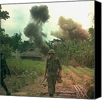 Foreign Wars Canvas Prints - Vietnam War. Us Marines Walk Away Canvas Print by Everett