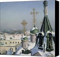 Christmas Cards Canvas Prints - View from a Window of the Moscow School of Painting Canvas Print by Sergei Ivanovich Svetoslavsky