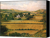 Country Scenes Painting Canvas Prints - View from Knowle Hill in Church Knowle Purbeck Ridgeway  Dorset England  Canvas Print by Ethel Vrana