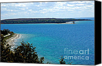 Old Chicago Water Tower Canvas Prints - View from Mackinac Island of round Island Lighthouse 2 Canvas Print by LeeAnn McLaneGoetz McLaneGoetzStudioLLCcom