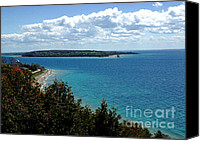 Old Chicago Water Tower Canvas Prints - View from Mackinac Island of round Island Lighthouse Canvas Print by LeeAnn McLaneGoetz McLaneGoetzStudioLLCcom