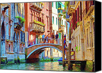 Balconies Canvas Prints - View from the Canal Canvas Print by Jeff Kolker