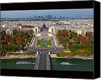 Road Travel Canvas Prints - View From The Second  Floor Of Eiffel Tower Canvas Print by Anna A. Krømcke