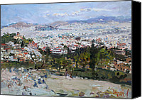 Acropolis Canvas Prints - View of Athens from Acropolis Canvas Print by Ylli Haruni