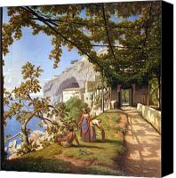 Vine Canvas Prints - View of Capri Canvas Print by Theodore Aligny