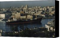 Habana Canvas Prints - View Of City And A Massive Freighter Canvas Print by James L. Stanfield