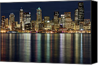 Seattle Waterfront Canvas Prints - View Of Cityscape At Night Canvas Print by Stephen Kacirek