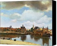 Bank Canvas Prints - View of Delft Canvas Print by Jan Vermeer