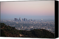 Downtown Los Angeles Canvas Prints - View Of Downtown Los Angeles From Griffith Park Canvas Print by Nivek Neslo