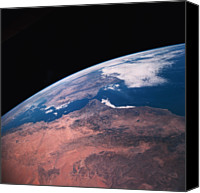 Astronomy Canvas Prints - View Of Earth From Space Canvas Print by Stockbyte