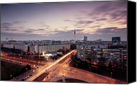 Berlin Canvas Prints - View Of East Berlin Skyline Canvas Print by Spreephoto.de
