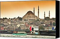 Waterfront Canvas Prints - View Of Istanbul Canvas Print by (C) Thanachai Wachiraworakam